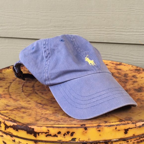 80220e8ee86e8 Blue yellow vintage polo hat leather band. M 5af43dbd8290af73847877a5